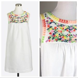 J. Crew Factory Embroidered White Sleeveless Dress